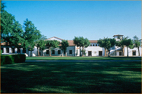 View of Malott Commons from Bowling Green Lawn, inspired by the Gordon Kaufman-designed residence halls